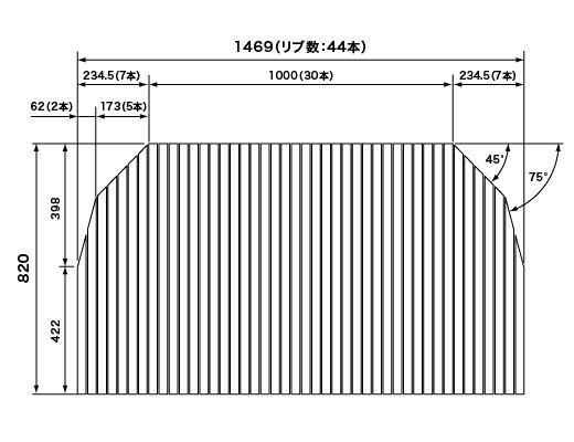 パナソニック Panasonic(松下電工 ナショナル) 風呂ふた(ふろふた フロフタ) 巻きふた RLSX74MF7T1C (RLSX74MF7T1の代替品) 820×1469mm (リブ数:44本)