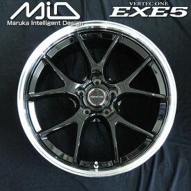 送料無料セレナ ノア VOXY エスクァイアMID ヴァーテックワンEXE5グロッシーブラックリムポリッシュ205/50R17 国産タイヤ ホイール4本セット