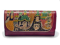 9ca0de650ec8 PR 猫 革財布 手染め かぶせタイプ長財布 猫とビル(レッド) Cr..