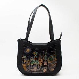 25ad990cbb04 手染め猫型トートバッグ猫とビル|Craft ema クラフトエマ| 猫