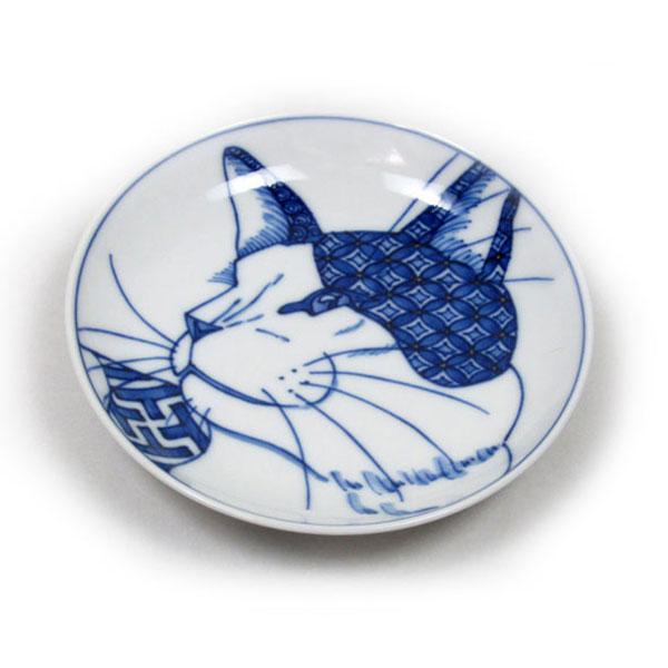 ラッピング無料 風龍窯(見谷佳則) 京焼き小皿 横顔小紋猫|風龍窯 見谷佳則| 猫グッズ 猫雑貨 猫 ねこ ネコ|焼物 京焼 清水焼 陶器|食器|