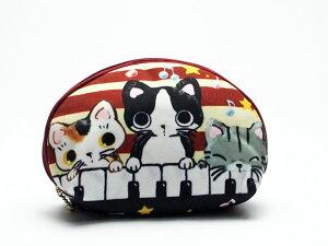 やまねこ(やまねみえこ) まるのシェルポーチ(L)けんばん / 猫 ポーチ 猫グッズ 猫雑貨