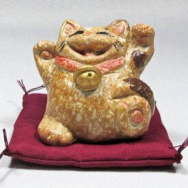 笑福両手招き猫(小小)三毛通山(瀬戸焼)商売繁盛、家内安全|通山| 猫グッズ 猫雑貨 猫 ねこ ネコ|招き猫 幸運 開運 瀬戸焼|