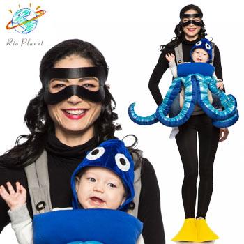 スキューバダイビング おもしろ ベビー 赤ちゃん 仮装 コスプレ コスチューム 親子 衣装 DIVER AND OCTOPUS COSTUME