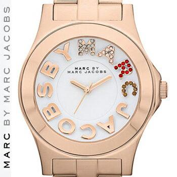 【正規品取扱店】 マーク バイ マーク ジェイコブス 腕時計 リベラ MARC BY MARC JACOBS 'Rivera' Crystal Accent Watch カラー:ローズゴールド