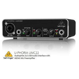 BEHRINGER/べリンガー UMC22 U-PHORIA MIDASマイクプリアンプ搭載 2入力2出力USBオーディオインターフェース