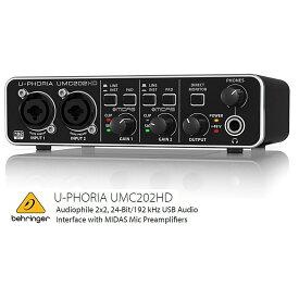 BEHRINGER/べリンガー UMC202HD U-PHORIA MIDASマイクプリアンプ搭載2入力2出力USBオーディオインターフェース