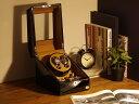 ワインディングマシーン 2本巻 ブラック × キャメル Abies(アビエス) 2連 腕時計 自動巻き ワインディングマシン ウ…