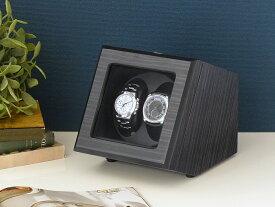Abies カペラ ワインディングマシーン 2本巻 エボニー 天然木使用 黒檀 ブラック 2連 ウォッチワインダー 腕時計 自動巻き ワインディングマシン ウォッチケース 収納ケース メンズ レディース 自動巻き機 時計ケース