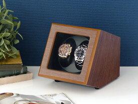 Abies カペラ ワインディングマシーン 2本巻 ウォールナット × ブラック 天然木使用 2連 ウォッチワインダー 腕時計 自動巻き ワインディングマシン ウォッチケース 収納ケース メンズ レディース ケース時計ケース ギフト プレゼント