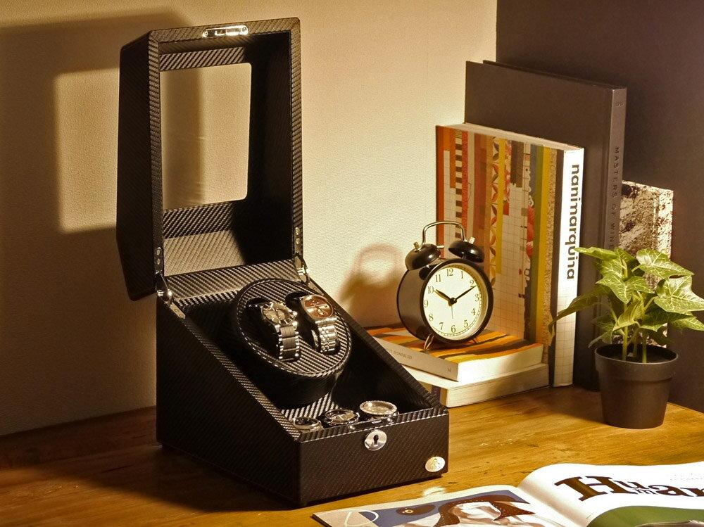 ワインディングマシーン 2本巻 カーボン調 Abies(アビエス) ワインディングマシン 2連 ウォッチワインダー 2本 4本 時計 腕時計 自動巻き ワインダー ウォッチケース 時計ケース ギフト プレゼント メンズ レディース ケース 父の日