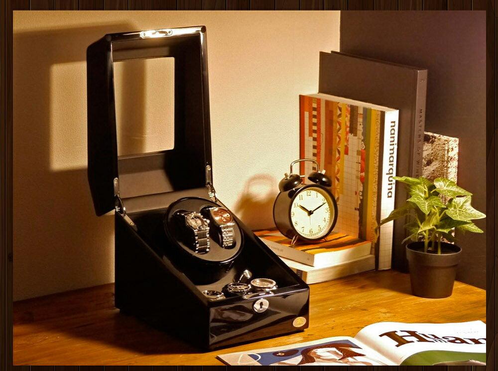 【あす楽対応】ワインディングマシーン 2本巻 ブラック × ブラック Abies(アビエス) 2連 ウォッチワインダー 腕時計 ワインディングマシン 2本 3本 4本 時計 収納ケース メンズ レディース ケース 自動巻き機 自動巻き ウォッチケース ワインダー ギフト ウォッチスタンド