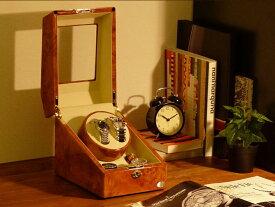 ワインディングマシーン 2本巻 ライトブラウン Abies(アビエス) ワインディングマシン 4本 収納ケース メンズ レディース ケース 2連 ウォッチワインダー 腕時計 自動巻き ワインダー プレゼント ウォッチケース 時計ケース ギフト 父の日