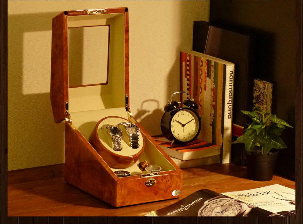 【あす楽対応】ワインディングマシーン 2本巻 ライトブラウン Abies(アビエス) ワインディングマシン 2本 4本 時計 収納ケース メンズ レディース ケース 自動巻き機 2連 ウォッチワインダー 腕時計 自動巻き ワインダー プレゼント ウォッチケース 時計ケース ギフト