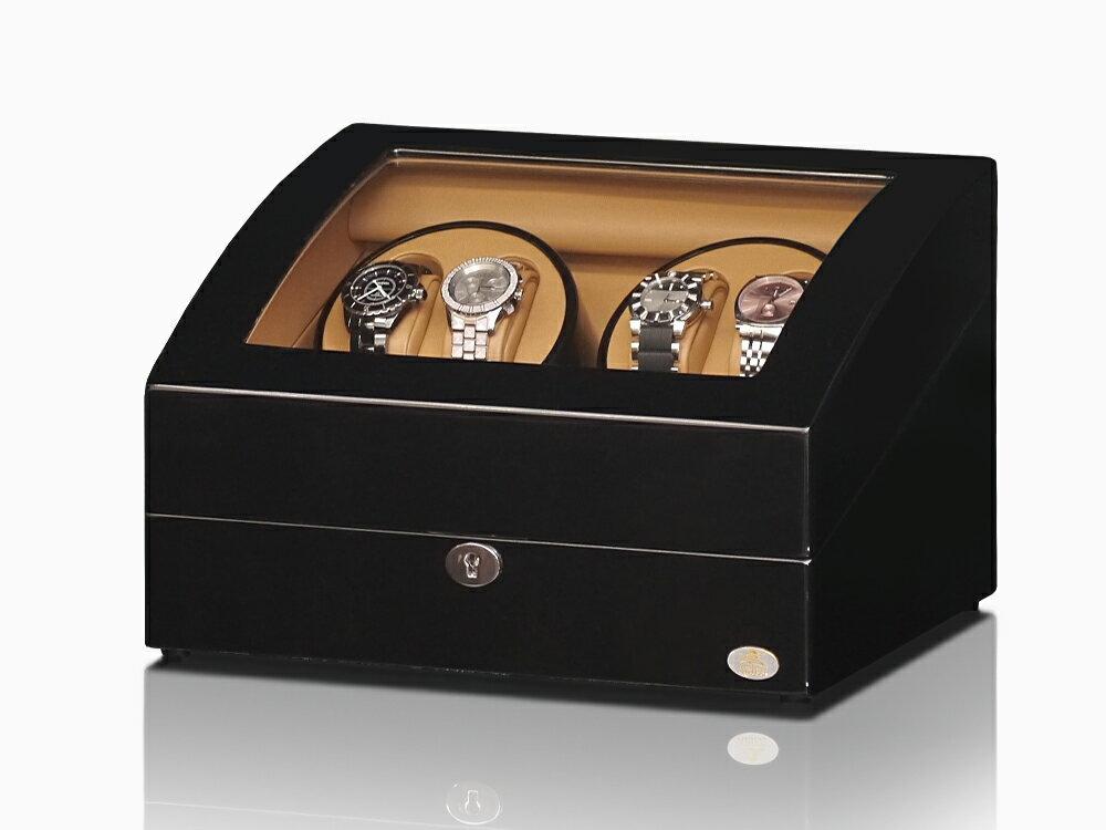 【あす楽対応】ワインディングマシーン 4本巻 ブラック × キャメル Abies(アビエス) 4連 腕時計 ワインディングマシン 自動巻き ウォッチケース 時計ケース ワインダー 2本 4本 時計 収納ケース メンズ レディース ケース 自動巻き機 ギフト ウォッチスタンド プレゼント