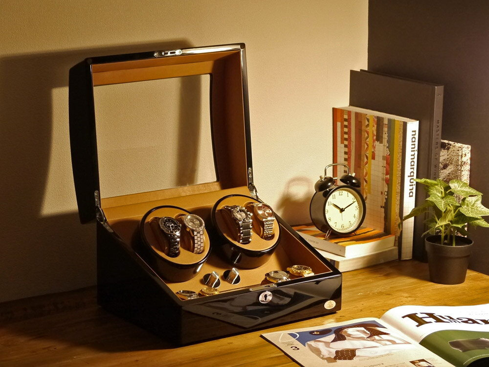 【あす楽対応】ワインディングマシーン 4本巻 ブラック × キャメル Abies(アビエス) 4連 腕時計 ワインディングマシン 自動巻き ウォッチケース 時計ケース ワインダー 収納ケース メンズ レディース ギフト ウォッチスタンド プレゼント 父の日