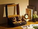 ワインディングマシーン 4本巻 ブラック × キャメル Abies(アビエス) 4連 腕時計 ワインディングマシン 自動巻き ウ…