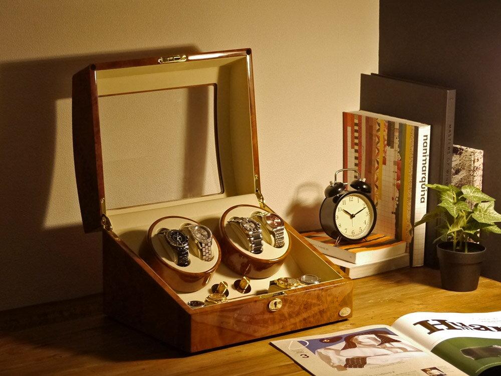 【あす楽対応】ワインディングマシーン 4本巻 ライトブラウン Abies(アビエス) ワインダー 4連 腕時計 自動巻き ワインディングマシン 2本 3本 4本 時計 収納ケース メンズ レディース 自動巻き機 ウォッチケース 時計ケース ギフト スタンド プレゼント