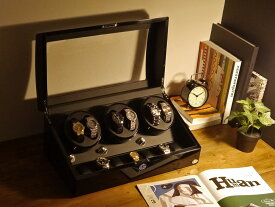 ワインディングマシーン 6本巻 ブラック × ブラック Abies(アビエス) 6連 腕時計 ワインディングマシン 自動巻き ウォッチケース 時計 収納ケース メンズ レディース 自動巻き機 ワインダー 時計ケース ギフト ウォッチスタンド
