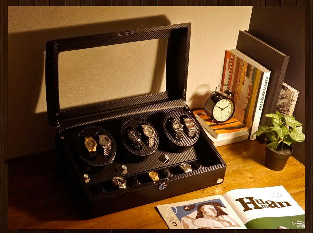 【あす楽対応】ワインディングマシーン 6本巻 カーボン調 Abies(アビエス) 6連 腕時計 ワインディングマシン 自動巻き ウォッチケース 時計ケース ワインダー ギフト ウォッチスタンド 2本 4本 時計 収納ケース メンズ レディース ケース 自動巻き機 プレゼント