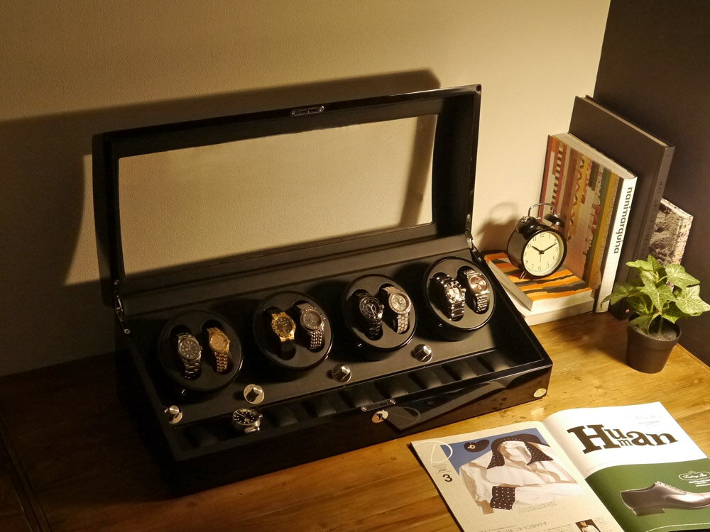 【あす楽対応】ワインディングマシーン 8本巻 ブラック × ブラック Abies(アビエス) 8連 腕時計 ワインディングマシン 自動巻き ウォッチケース 2本 4本 時計 収納ケース メンズ レディース ケース 自動巻き機 時計ケース ギフト ディスプレイ プレゼント