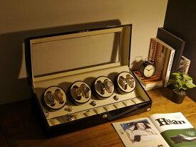 ワインディングマシーン 8本巻 ブラック × アイボリー Abies(アビエス) 8連 腕時計 自動巻き ウォッチケース ワインディングマシン 収納ケース メンズ レディース ケース 自動巻き機 時計ケース ワインダー ギフト ウォッチスタンド プレゼント