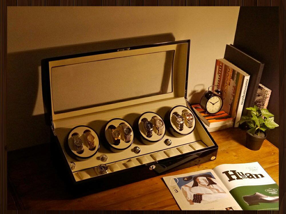 【あす楽対応】ワインディングマシーン 8本巻 ブラック Abies(アビエス) 8連 腕時計 自動巻き ウォッチケース ワインディングマシン 2本 4本 時計 収納ケース メンズ レディース ケース 自動巻き機 時計ケース ワインダー ギフト ウォッチスタンド プレゼント