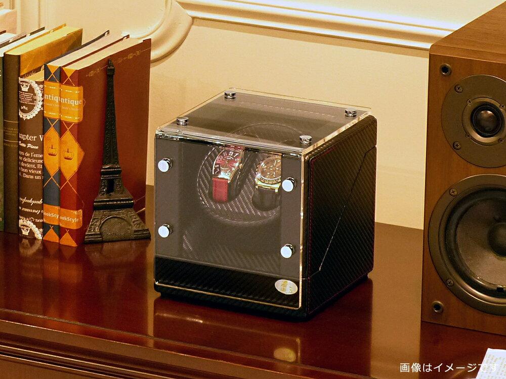 ワインディングマシーン 2本巻 カーボン調 WB Abies(アビエス) 2連 ウォッチワインダー プレゼント 腕時計 自動巻き ワインディングマシン ウォッチケース 2本 収納ケース メンズ レディース ケース 時計ケース ワインダー