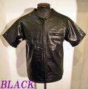 ライダース本革パンチングレザー半袖ZIPP-UPシャツ BLACK-LLサイズ