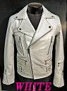 本革UKライダース ダブルライダース 革ジャン 牛革 白ホワイト  ライダースジャケット メンズ 本革 本格仕様