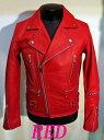 本革UKライダース ダブルライダース 革ジャン 牛革 赤レッド  ライダースジャケット メンズ 本革 本格仕様