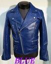 本革UKライダース ダブルライダース 革ジャン 牛革 青ブルー   ライダースジャケット メンズ 本革 本格仕様