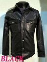 レザーシャツ牛革ウエスタンシャツ本革ユリ型ドット釦 黒ブラック  レザージャケット メンズ 本格仕様