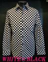 日本製 市松模様 チェッカーフラッグ ドレスシャツ 白×黒