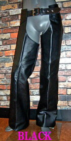 本革 チャップス 牛革 レザー 黒 ブラック BLACK アメリカン ハーレー ツーリング用 ライダー用 防寒パンツ 本格仕様