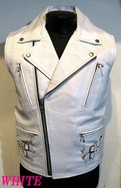 ライダースベスト 本革 牛革 UKタイプ レザーベスト 白ホワイト  メンズ ライダースジャケット WHITE