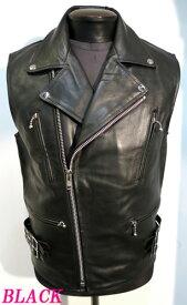 ライダースベスト 本革 牛革 UKタイプ レザーベスト 黒 ブラック メンズ ライダースジャケット BLACK