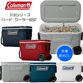 【Coleman】コールマン 316シリーズ ハード クーラー 62QT 容量約60L キャスター付き クーラーボックス キャンプ バーベキュー クーラーボックス 保冷 大容量 大型 アウトドア キャンプ 釣り Coleman 316 Series 62-Quart Hard Cooler
