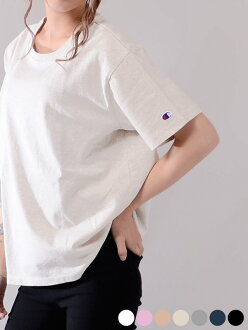 CHAMPION champion T-shirt lady's short-sleeved casual sports cotton 100% cut-and-sew inner plain fabric women brand logo C logo fitness training room wear Japan standard CW-M322 white day gift present lapping