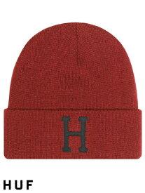 【ゆうメール便送料無料】HUF ハフ キャップ ニット帽 メンズ レディース ユニセックス 帽子 CLASSIC H BEANIE クラシック ロゴ 刺繍 ビーニー ニットキャップ ワッチキャップ ストリート スケーター リンクコーデ BN00074-R クリスマス プレゼント ラッピング