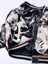 花旅楽団 スカジャン メンズ レディース ユニセックス ジャケット がしゃ髑髏 桜 ドクロ スカル 刺繍 リバーシブル 和柄 SCRIPT スクリプト SUKAJAN スーベニアジャケット SSJ-0