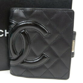 本物 未使用品 CHANEL シャネル がま口 ココマーク ヴィンテージ カンボンライン 二つ折り財布 カーフ ブラック レディース【中古】