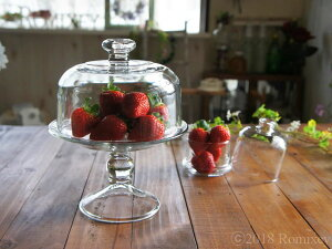 おしゃれなガラスのミニケーキドーム Libbey ケーキスタンド ディスプレイ 収納 カフェ 蓋つき 器