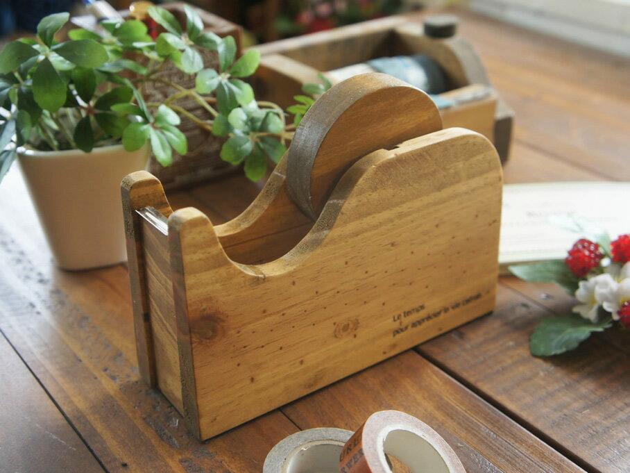 大巻用 おしゃれ アンティーク風 木製 テープカッター ウッド 事務用品 セロテープ