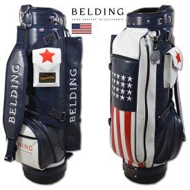 BELDING キャディバッグ メンズ 白 紺 赤 hbcb-850133 【 あす楽 送料無料 】[ ベルディング ゴルフ スタンド 8.5インチ 6分割 ブッシュワーカー・ アメリカンフラッグ ゴルフバッグ キャディバック かっこいい おしゃれ golf レッド 高級 レア 限定 激レア レザー 限定 ]