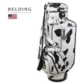 BELDING キャディバッグ メンズ 白 黒 hbcb950135【 あす楽 送料無料 】[ ベルディング ゴルフ スタンド 9.5インチ 6分割 XL STAFF BAG XLスタッフバッグ カウパッチ ゴルフバッグ キャディバック かっこいい おしゃれ golf 高級 レア 即納 限定 ]