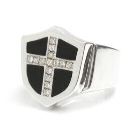 ロイヤルオーダー【公式】【リング】MONTANA ICE Shield & Diam Cross w/Onyx 【ROYAL ORDER】