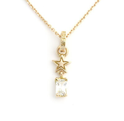 【ロイヤルオーダー ペンダント】Starshine w/ CZ Drop & Jumpring CLEAR 18K PINKGOLD(チェーン別売り) 【ROYAL ORDER】