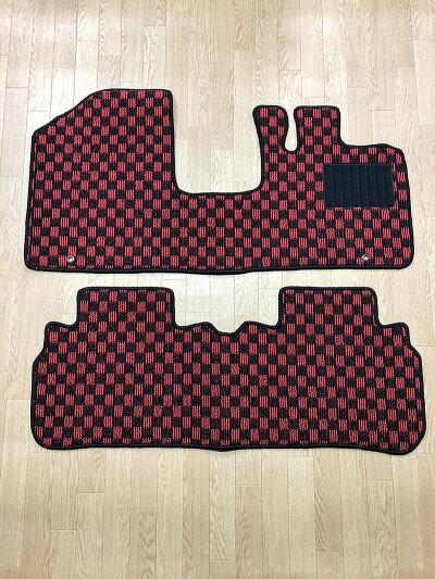 フロアマットハスラー専用カーマットMR31SMR41S全グレード対応1台分チェック柄黒灰赤青白桃黄スズキかわいいマットカーペット足元マット格子柄ブラックグレーレッドブルーホワイトピンクイエローパーツシートカバーチェッカー社外送料無料