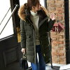It is a shipment gift on the long shot middle length きれいめ dress office daily fashion same day in fur Lady's adult rial fur light weight black khaki gray of superior grade winter clothing lean person fall and winter for 20 generations for 30 generations f